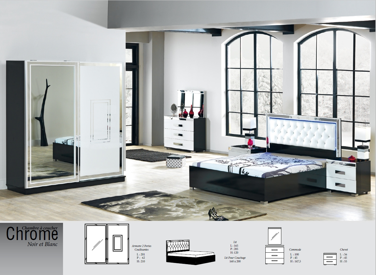 chambre chrome nkl meuble wassa et deco. Black Bedroom Furniture Sets. Home Design Ideas