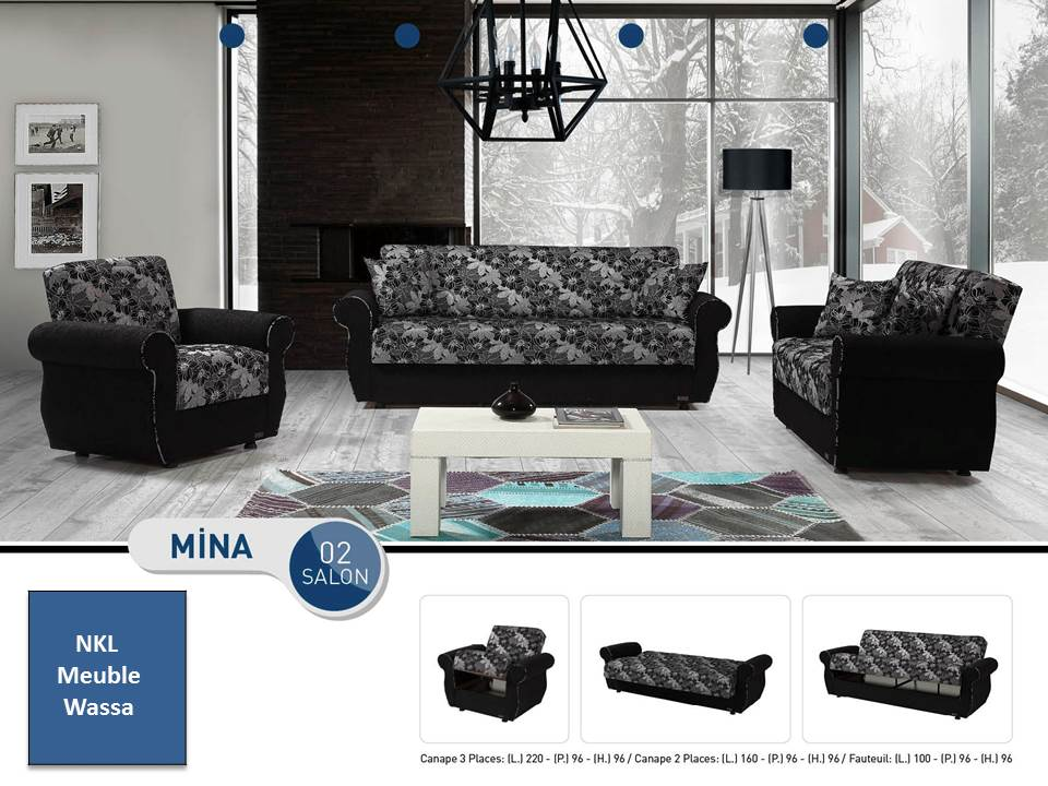 salon mina nkl meuble wassa et deco. Black Bedroom Furniture Sets. Home Design Ideas
