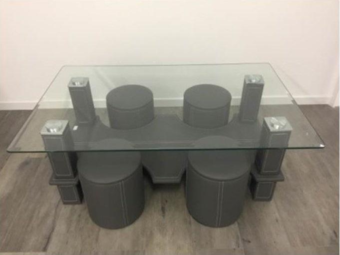 Table Basse Avec 4 Poufs Nkl Meuble Wassa Et Deco