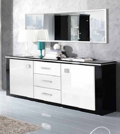 buffet toile noir blanc nkl meuble wassa et deco. Black Bedroom Furniture Sets. Home Design Ideas